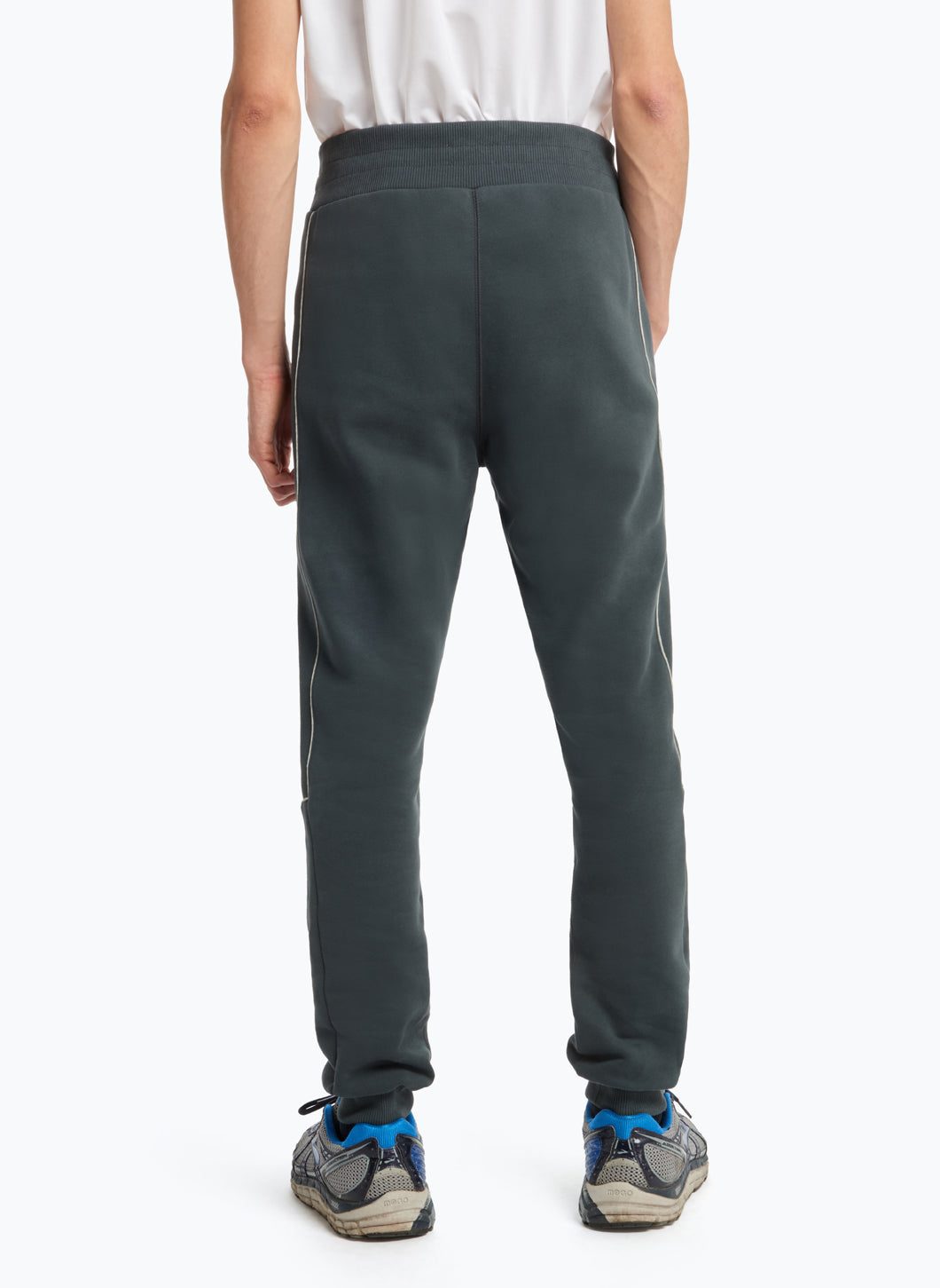 Jogging Pants with Side Cuts in Petrol Blue Fleece with White Trim