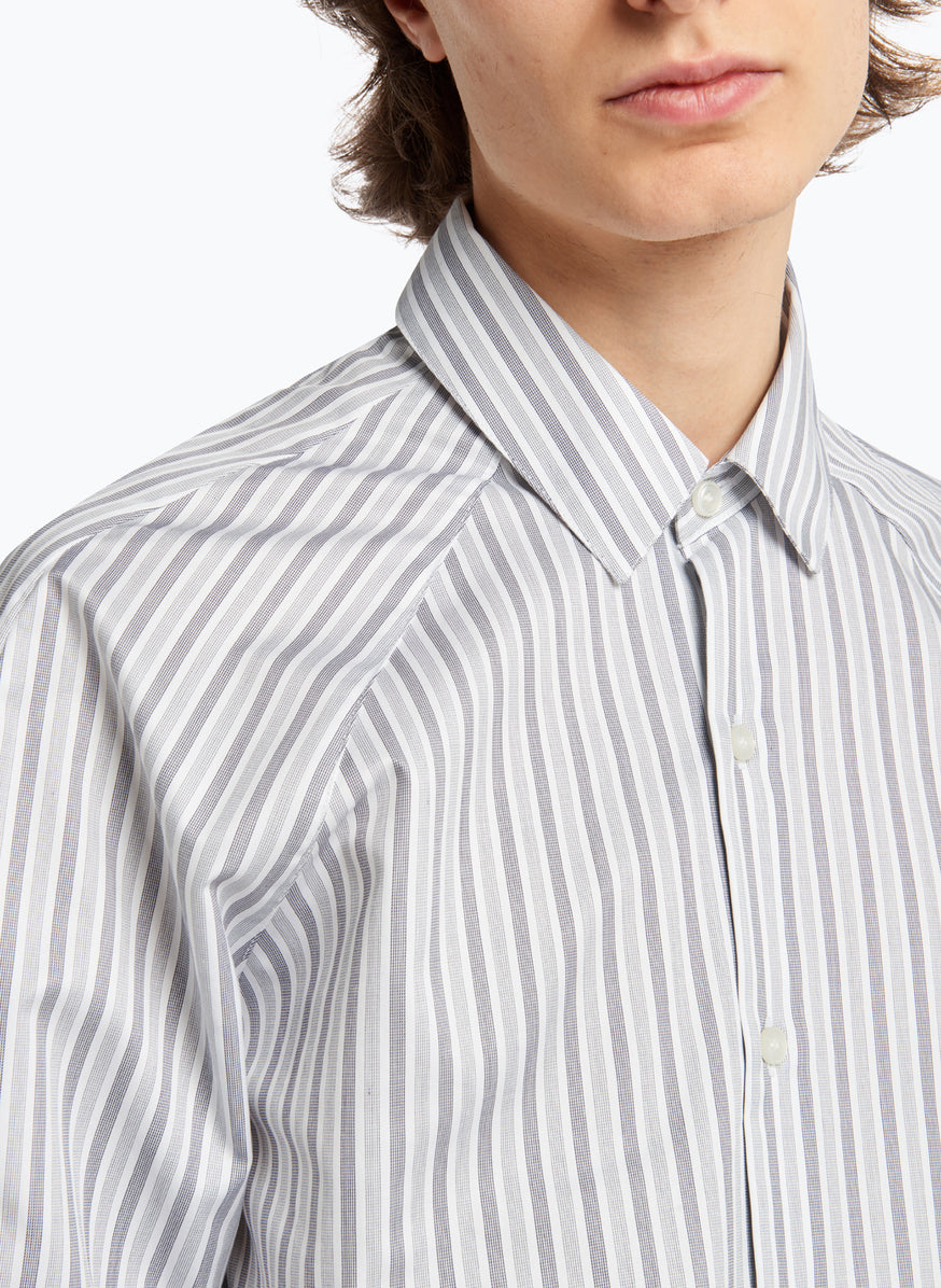 Raglan Sleeve Shirt in Light Grey Striped Poplin