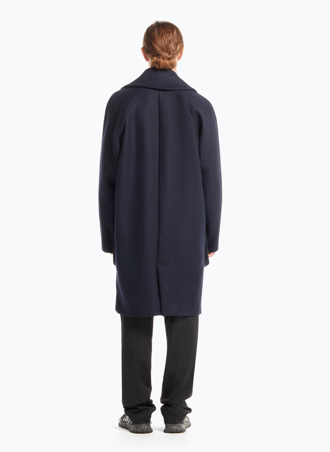 Coat with Crossed Collar in Navy Blue Wool