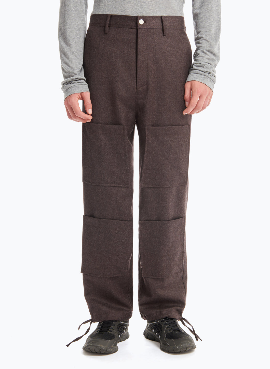 Pants with Stitched Patch Pockets in Brown Flannel Wool