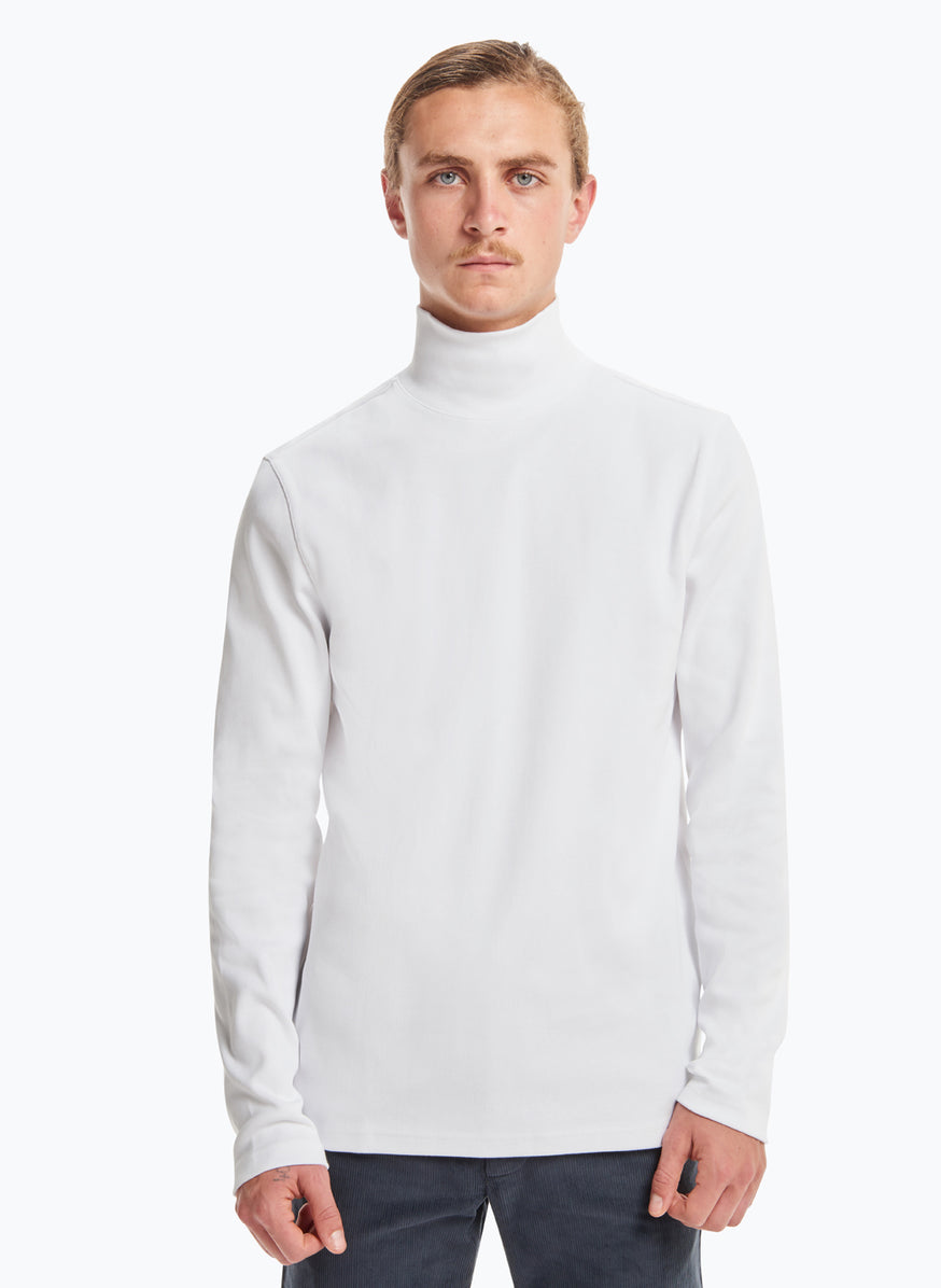 Sweatshirt with Funnel Neck in White Smooth Jersey