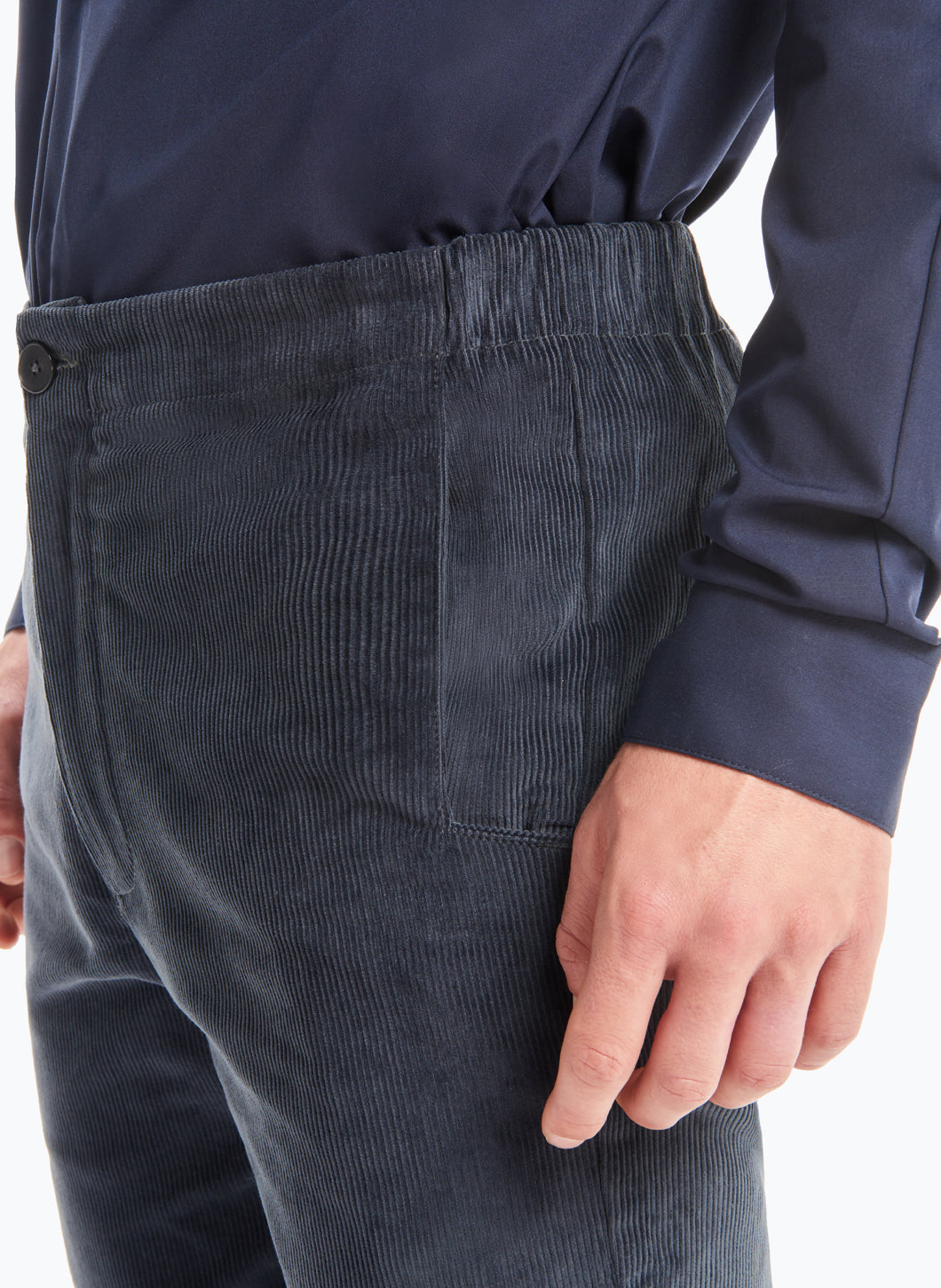 Pants with Notched Pockets in Petrol Blue Corduroy