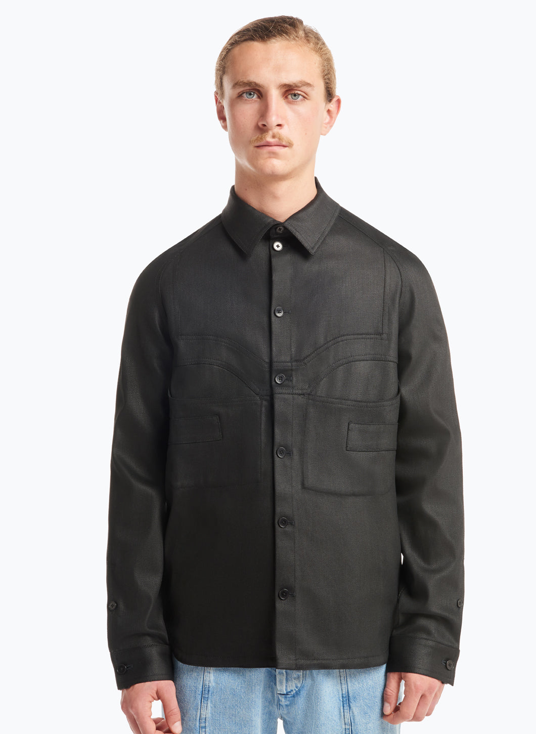 Overshirt with Graphic Cuts in Black Waxed Denim