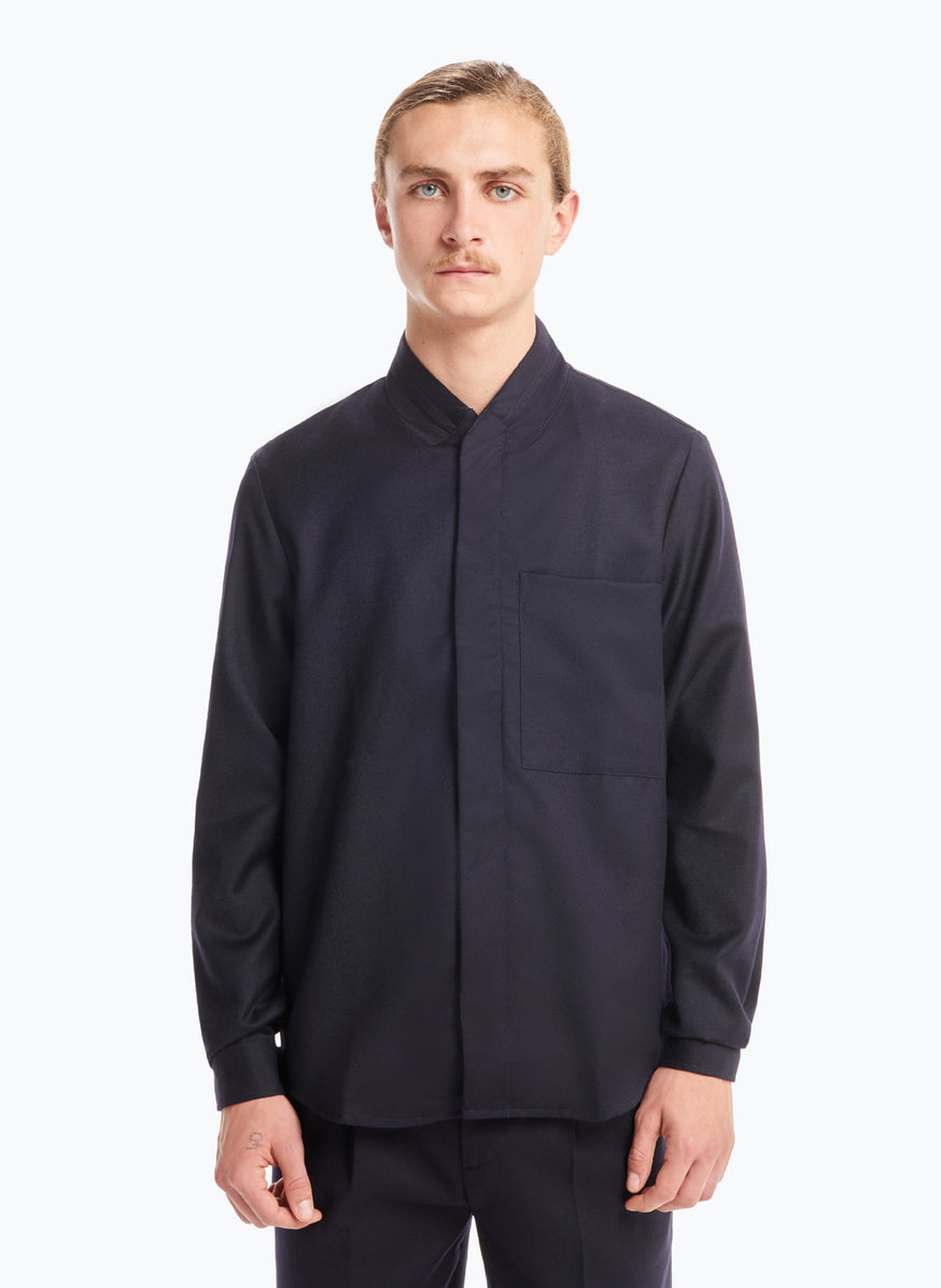 Double Collar Overshirt in Navy Blue Flannel Wool