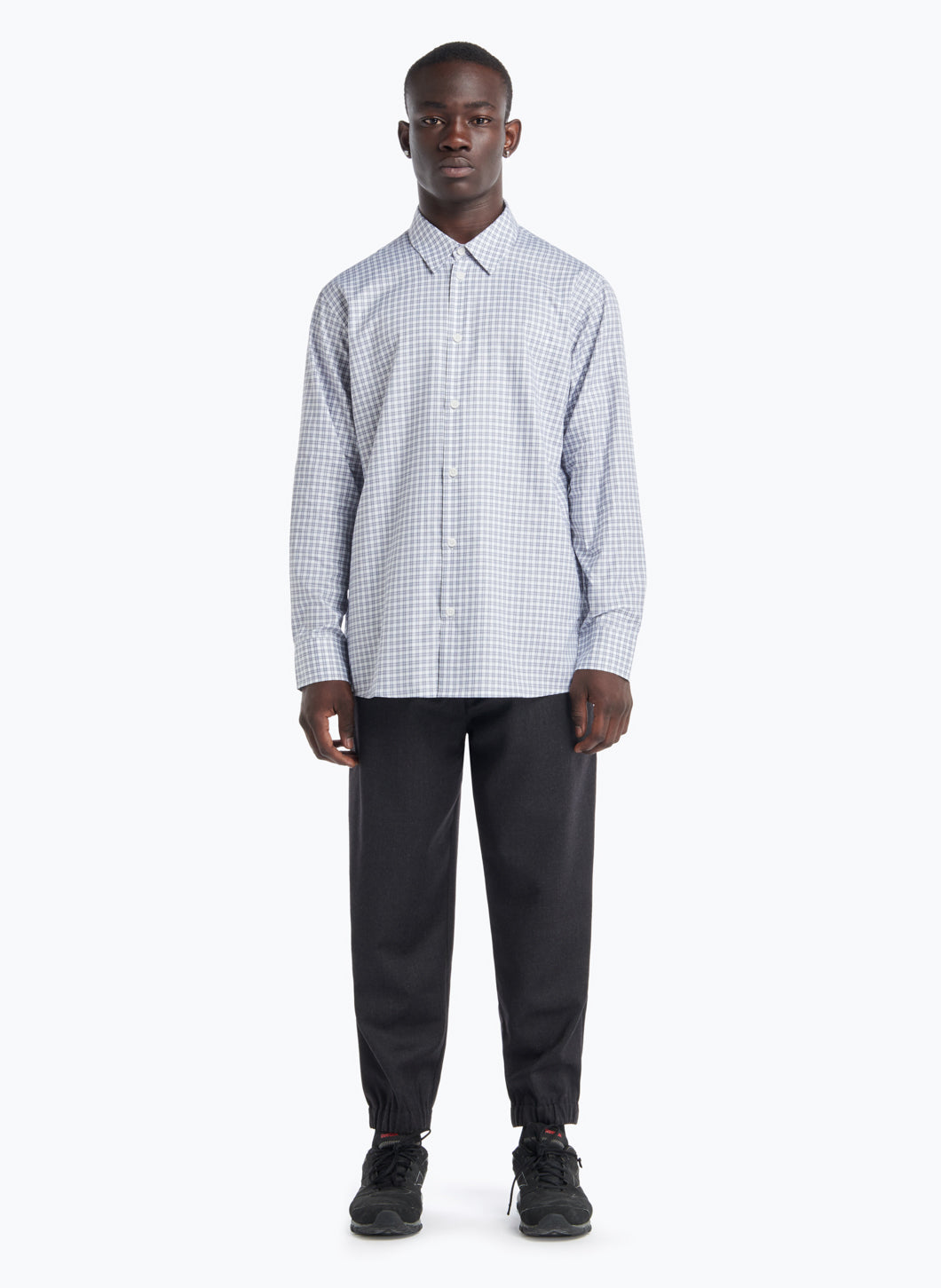 Shirt with Classic Collar in White Poplin with Grey Checks