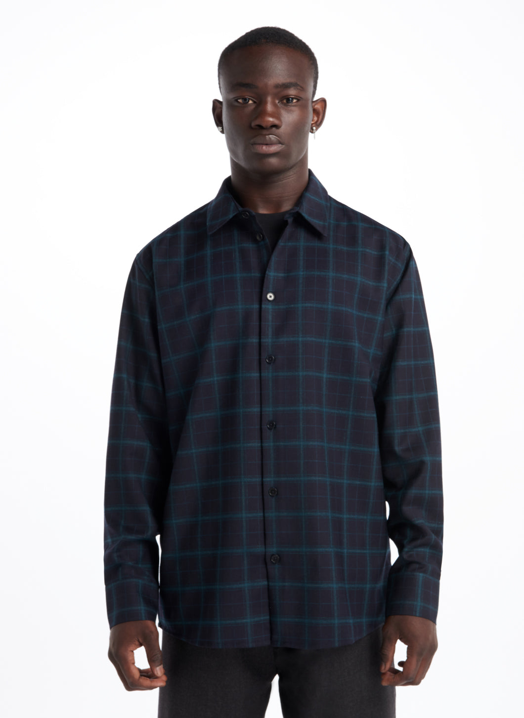 Overshirt with Classic Collar in Navy Blue Flannel Wool with Green Checks