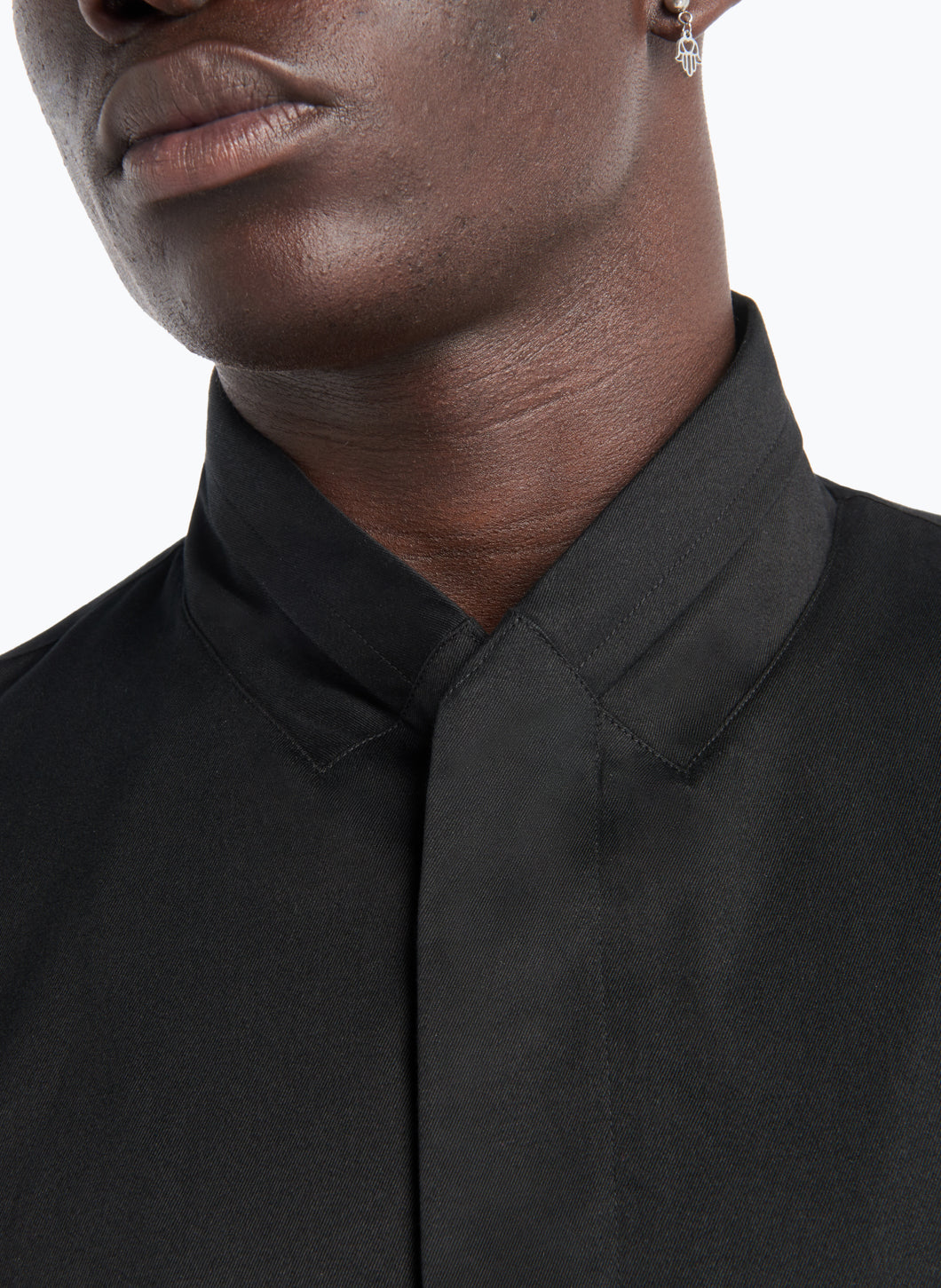 Double Collar Overshirt in Black Gabardine