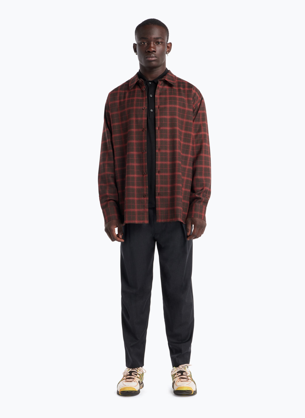 Overshirt with Classic Collar in Brown Flannel Wool with Orange Checks