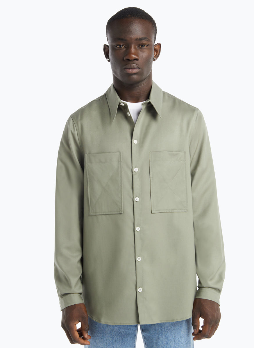 Overshirt with Chest Pockets in Clay Cool Wool