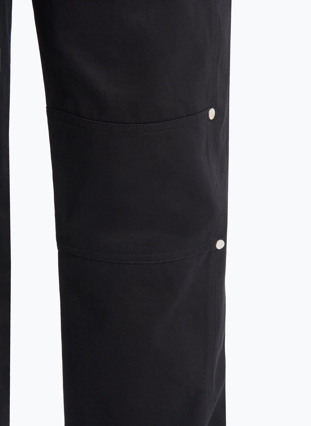 Overalls with Front Flap Pocket in Black Cotton Twill