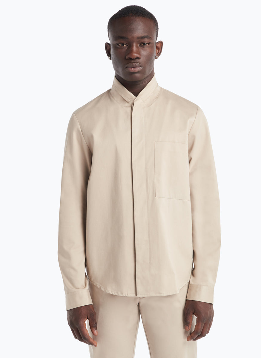 Double Collar Overshirt in Beige Gabardine