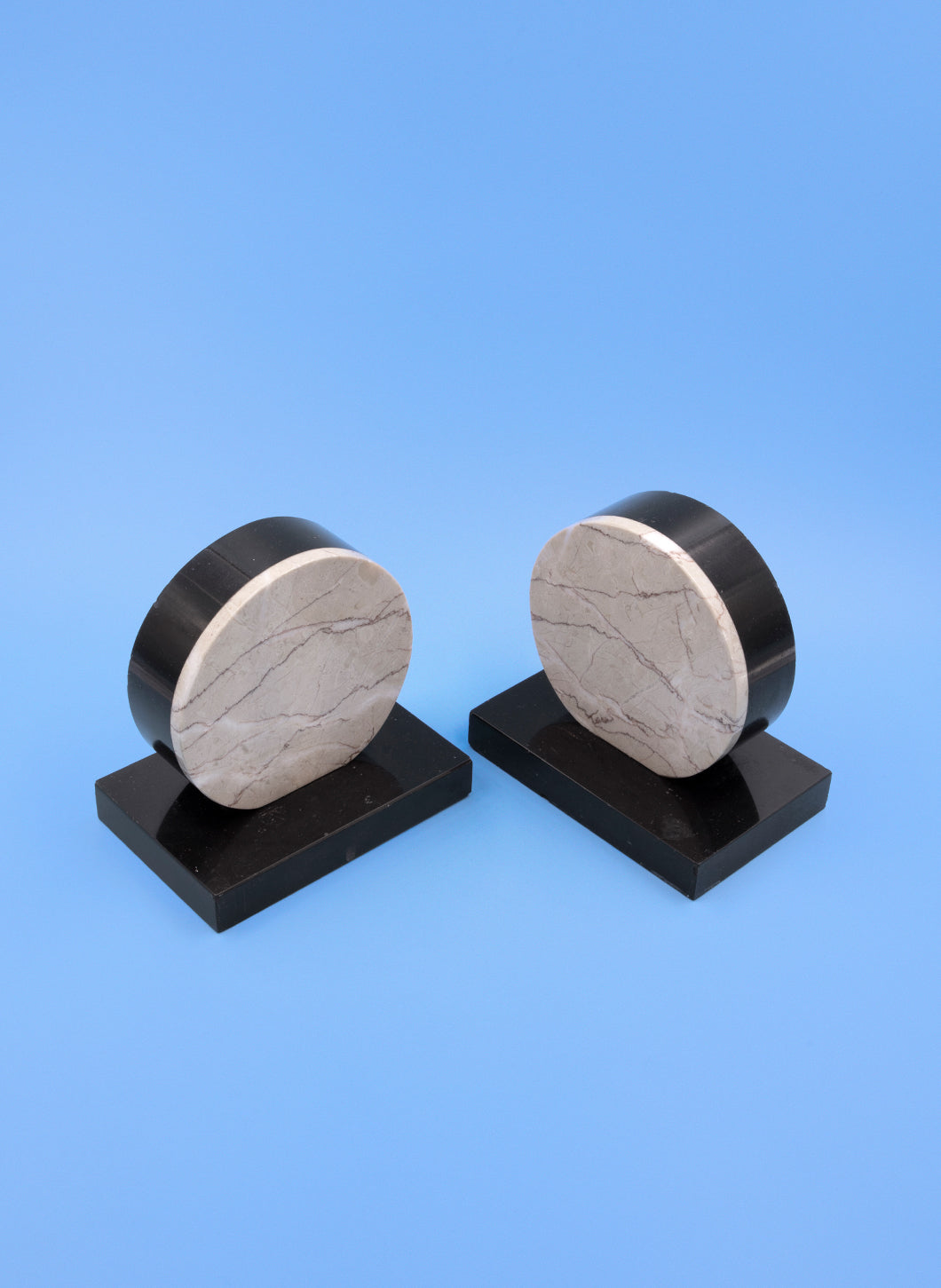 Bookends in Onyx and Beige Marble