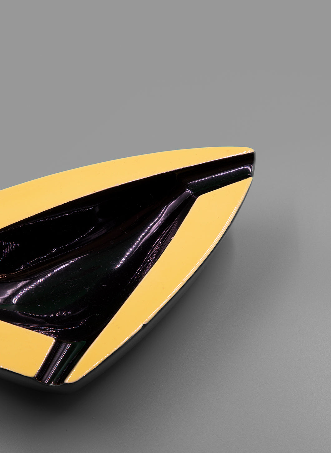 Triangular Black and Pale Yellow Ceramic Tray