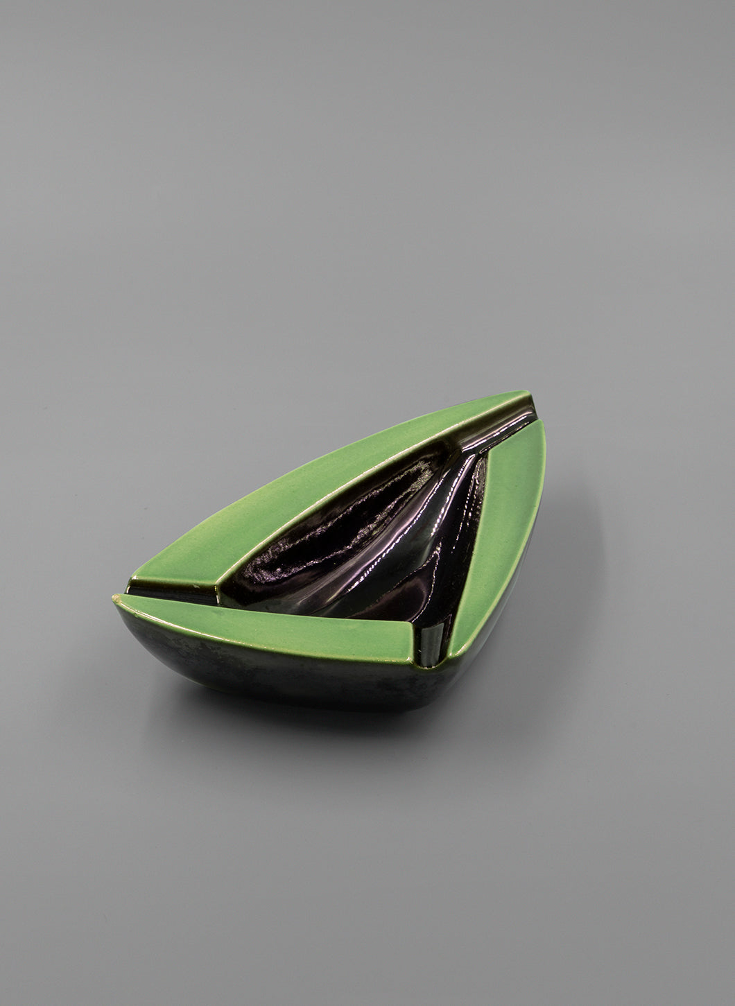 Triangular Black and Green Ceramic Tray