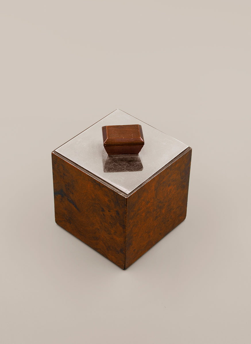 Cube Box in Elm Burl and Silver-Plated