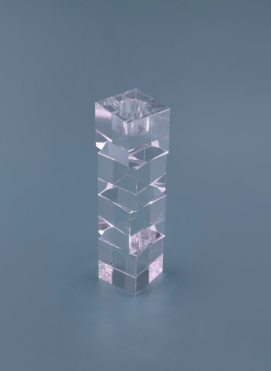 Candle Holder in Crystal Cubes