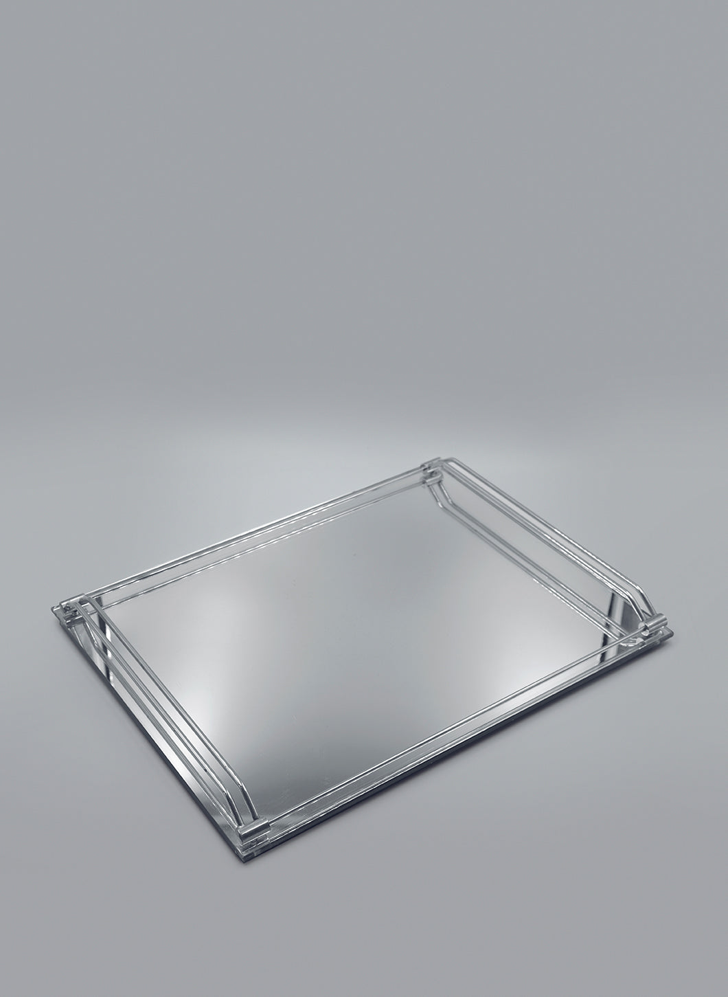 Mirrored Tray with Stainless Steel Handles