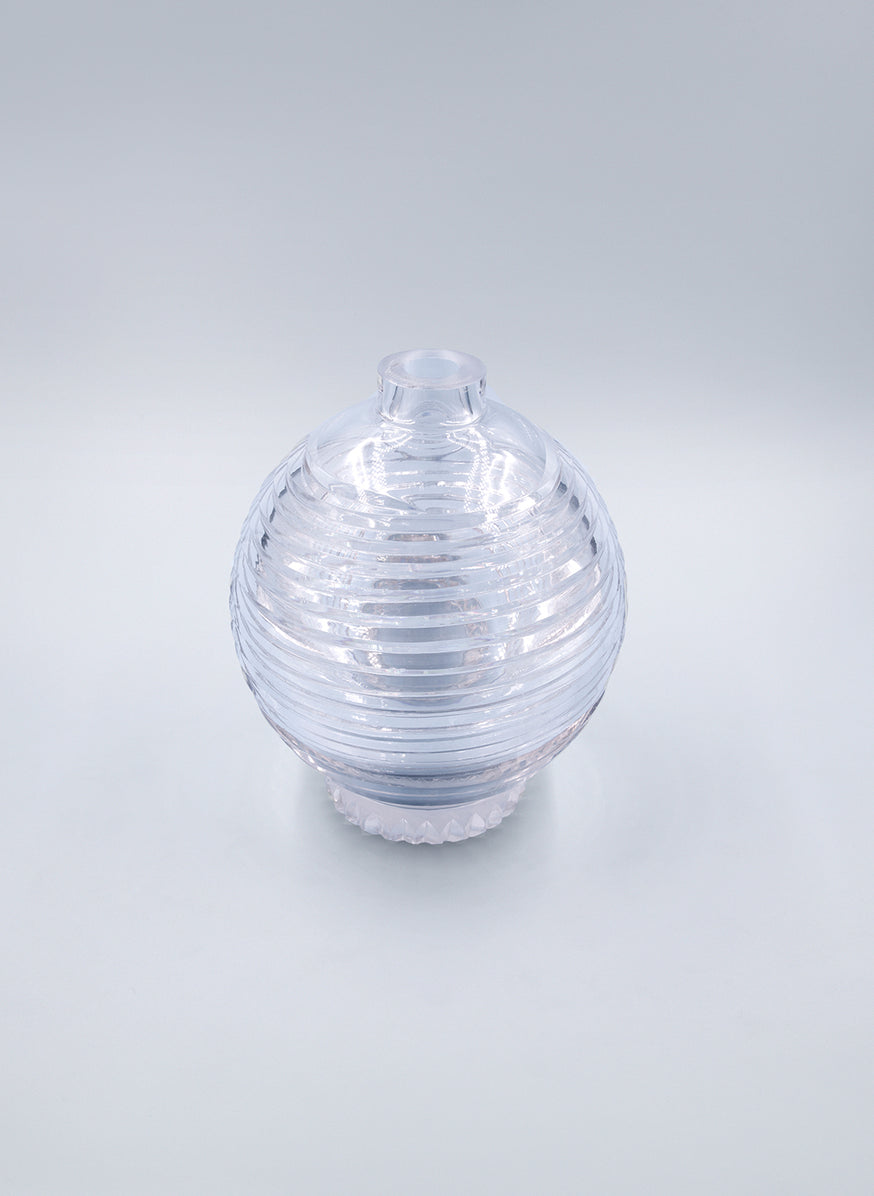 Vase in Fluted Transparent Crystal