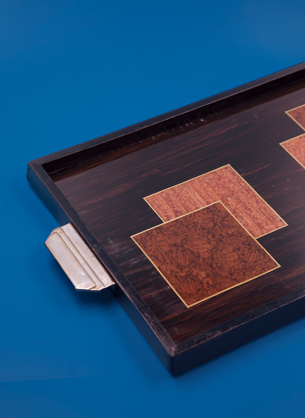 Rectangular Tray with Graphic Wooden Marquetry