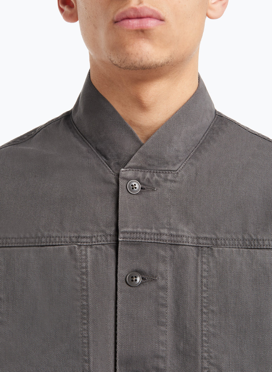False Collar Jacket in Dark Grey Denim
