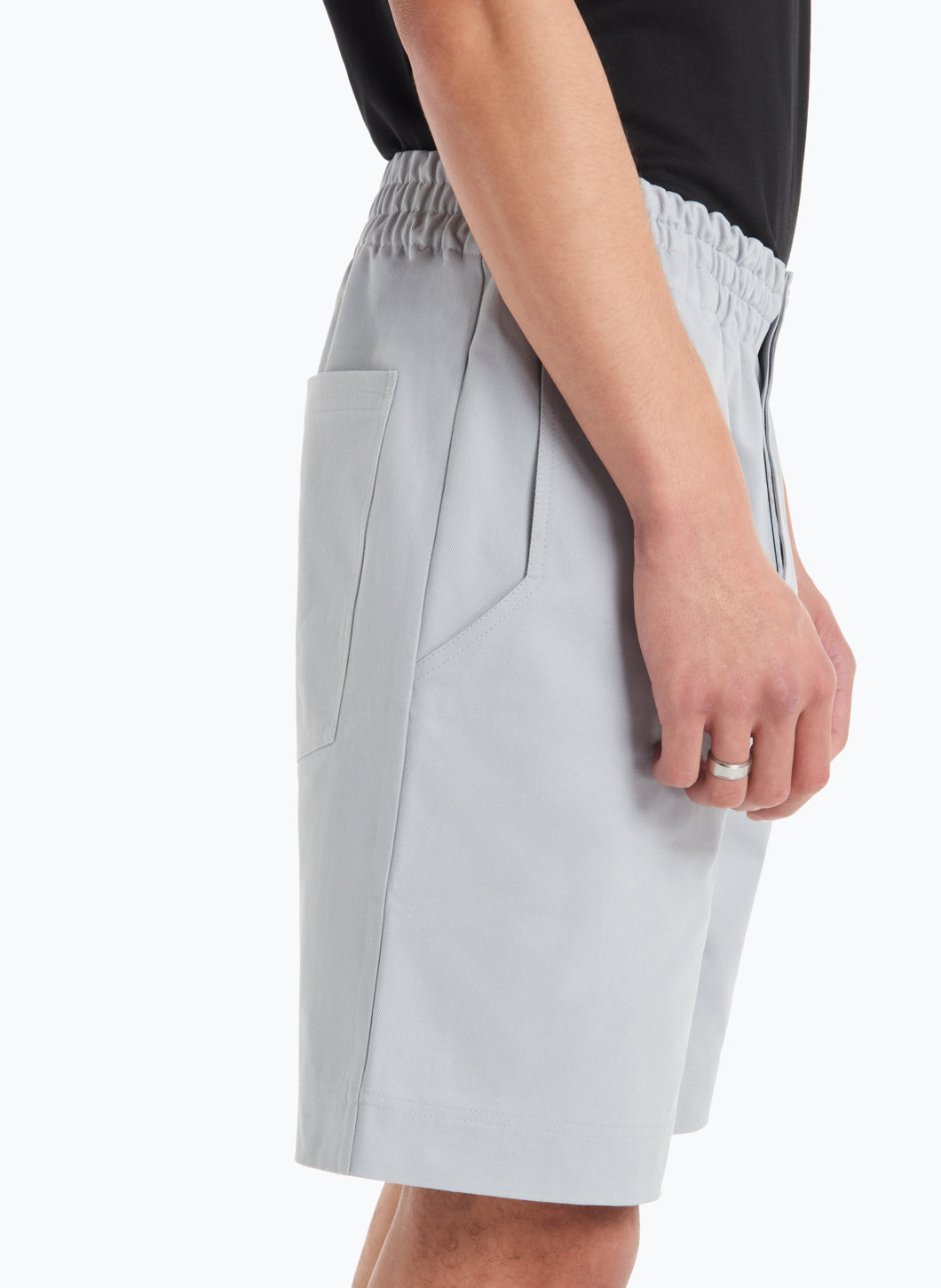 Bermuda Shorts with Stitched Waist in Pearl Grey Gabardine