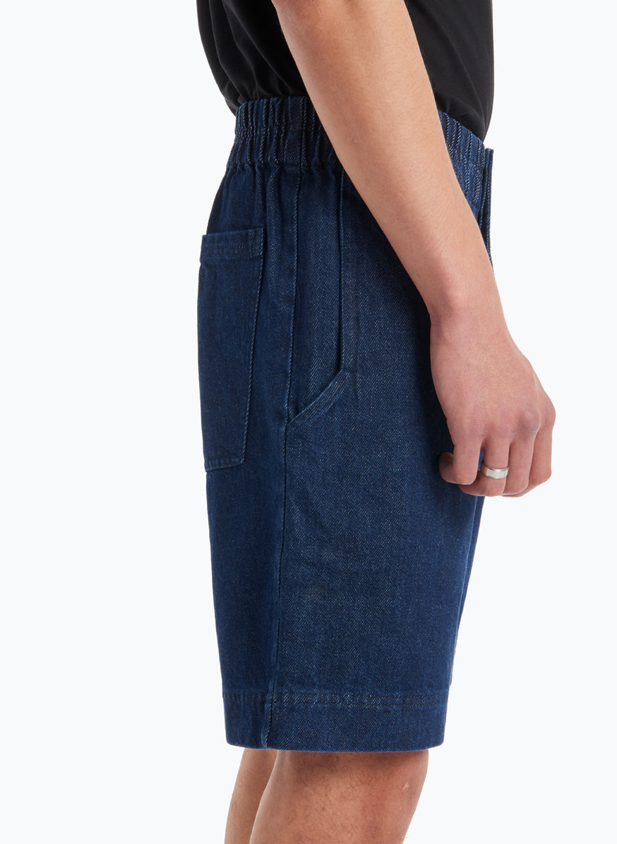 Bermuda Shorts with Stitched Waist in Rinsed Denim