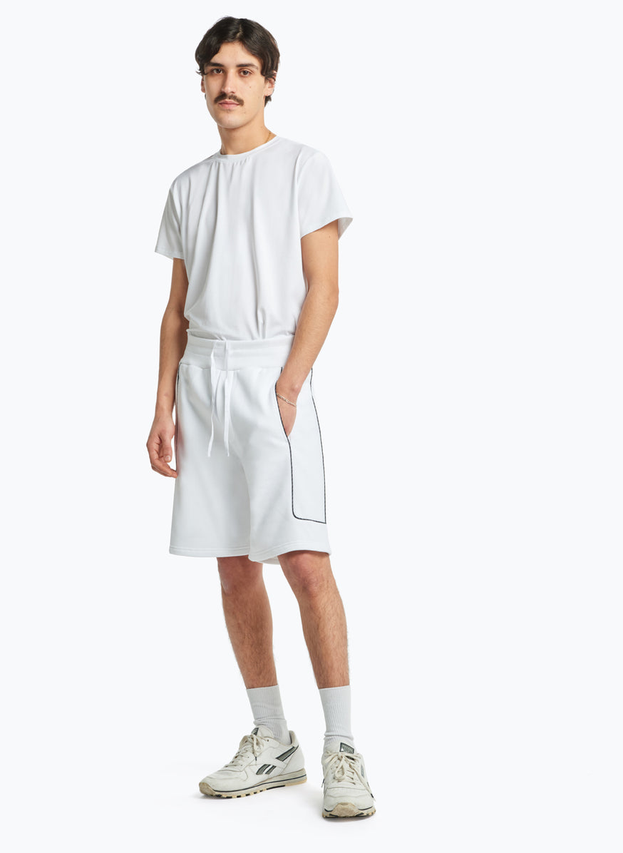 Jogging Shorts with Side Cuts in White Fleece with Navy Blue Trim
