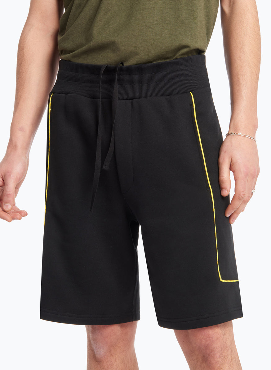 Jogging Shorts with Side Cuts in Black Fleece with Yellow Trim