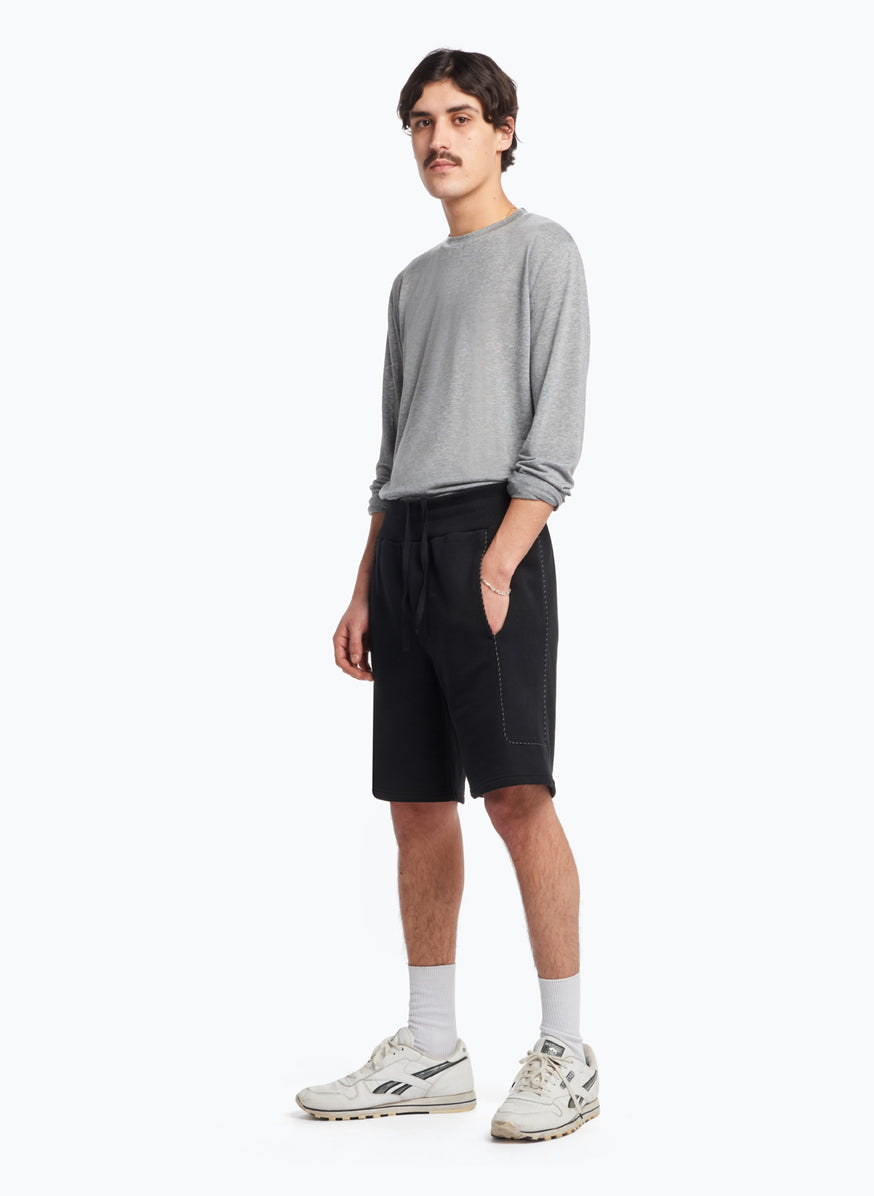 Jogging Shorts with Side Cuts in Black Fleece with Black Trim