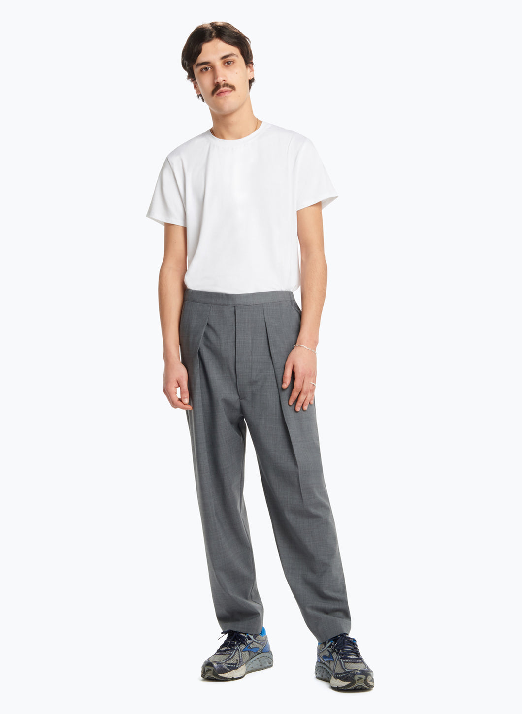 Elastic Waist Pants with Deep Pleats in Grey Worsted Wool