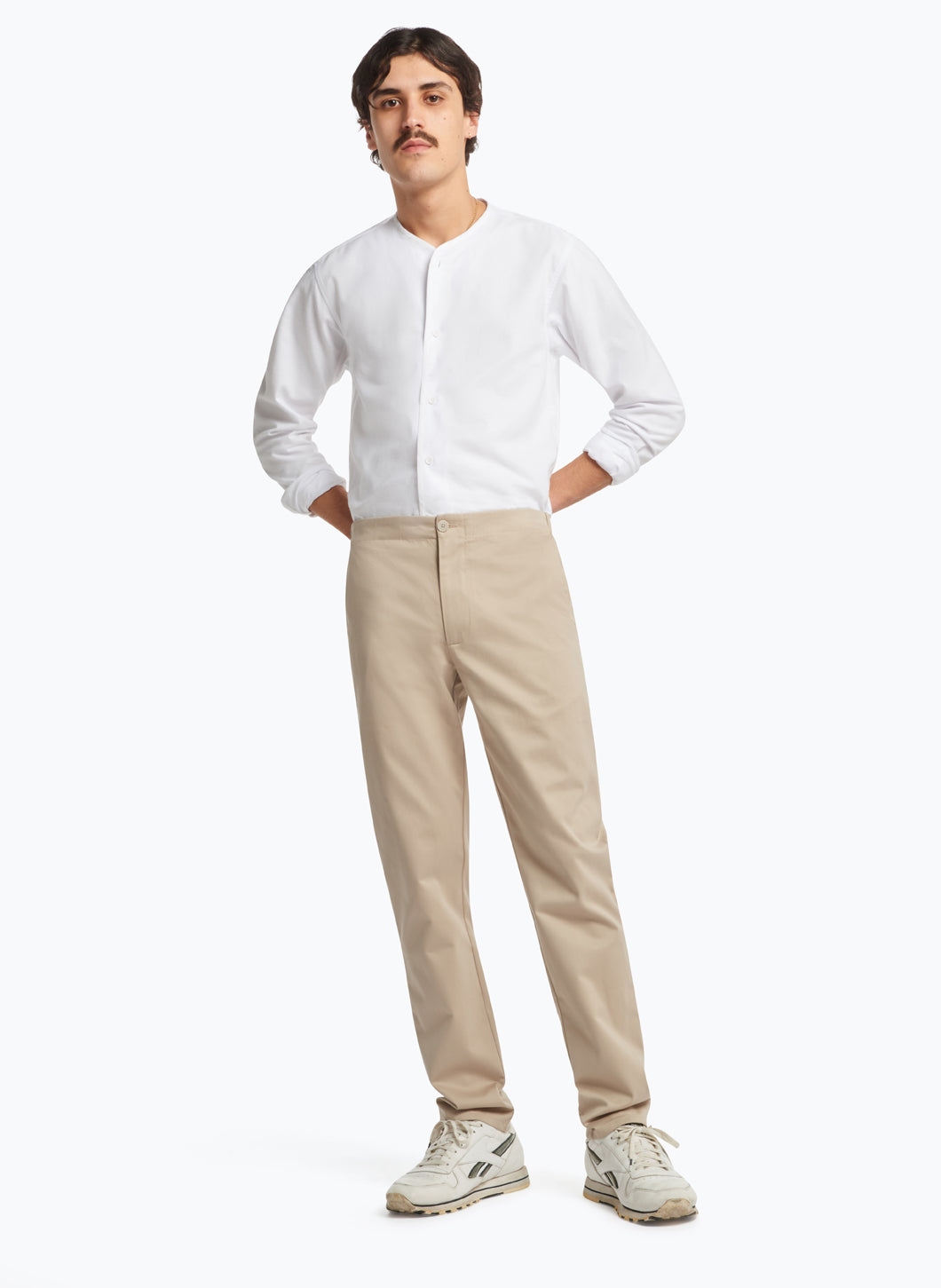 Pants with Notched Pockets in Beige Cotton Gabardine