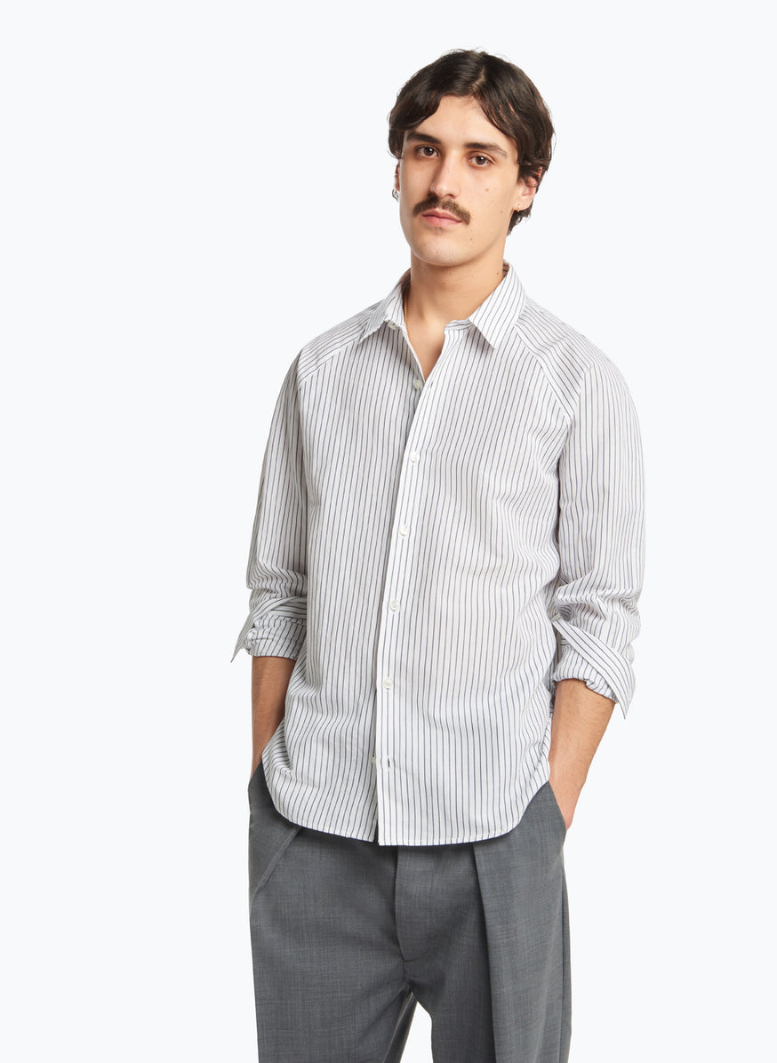 Raglan Sleeve Shirt in Navy Blue Striped Poplin