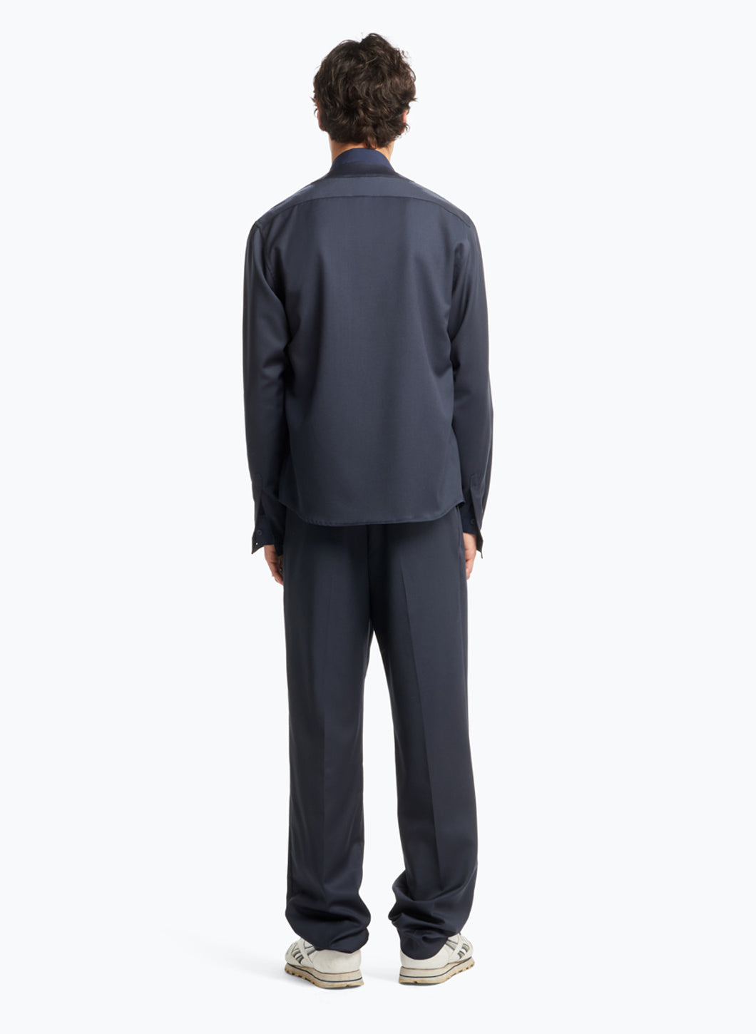 Overshirt with Crossed Crew Neck in Navy Blue Cool Wool