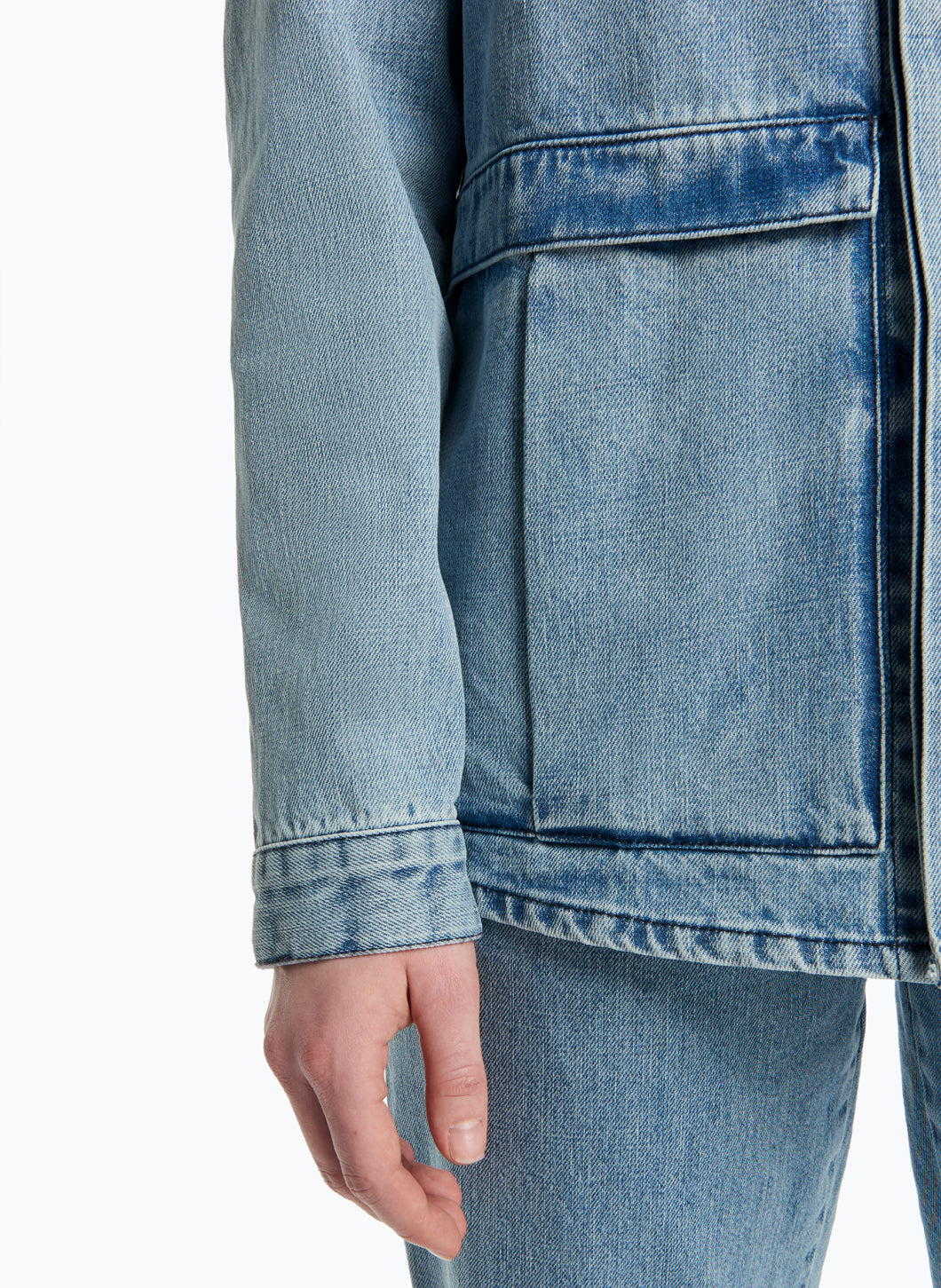 Jacket-Shirt with Flap Pockets in Bleached Denim