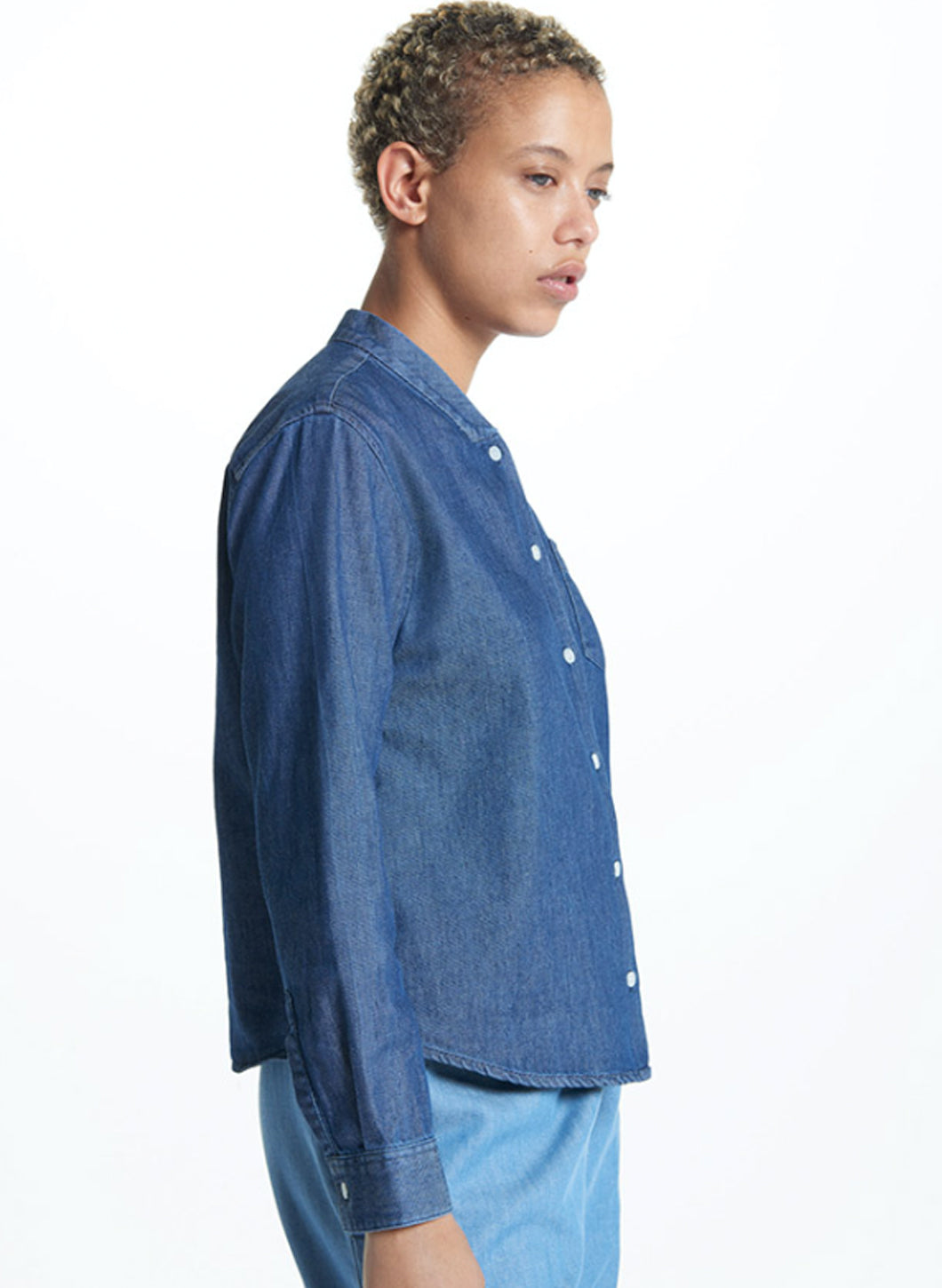 False Collar Shirt in Washed Denim