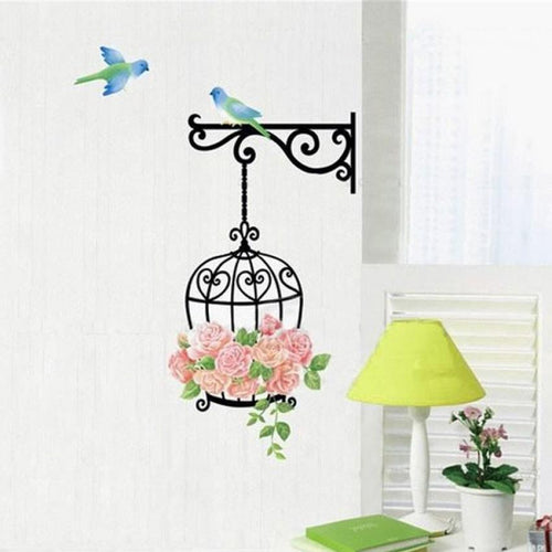 Super Deal 2015 New Fashion Rose Flower Bird Wall Decal Sticker Home Decor Vinyl Removeable Mural Sticker Hot Selling