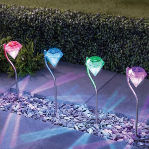 Solar Power LED Light Lawn Outdoor Waterproof Diamonds Pathway Path Landscape Stake Lamp for Garden Decoration Lamps
