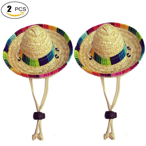 Mexican  3 Pcs Dogs Sombrero Hat Dogs Sun Hat Party Hats for Dogs Mexican Style Hat for Dogs and Cats Funny Dog Costume (Cotton Rope) (Cotton rope)