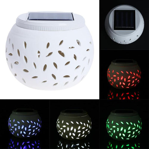 LED Solar Light Ceramic LED Solar Light RGB+White Color Changing Table Lamp for Outdoor Garden Yard Party Decoration