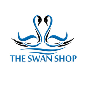 The Swan Shop Logo has two Swans with blue and black color