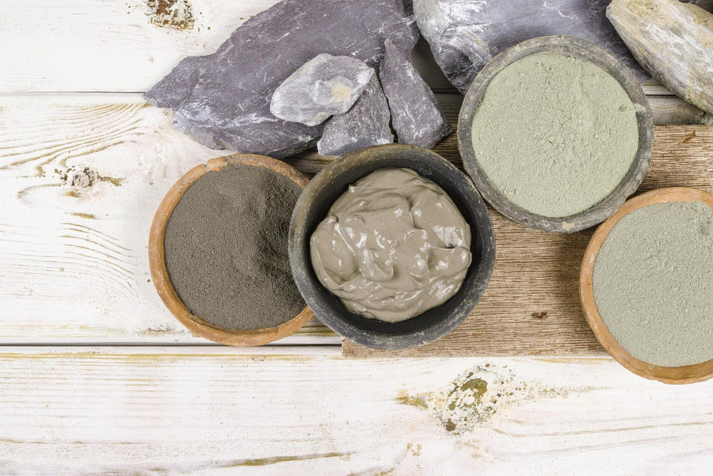 French green clay in different bowls