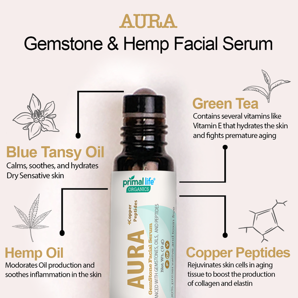 Aura Gemstone Face Serum with ingredients