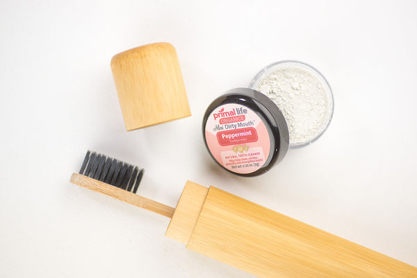 Bamboo toothbrush in Travel Case with Dirty Mouth Toothpowder