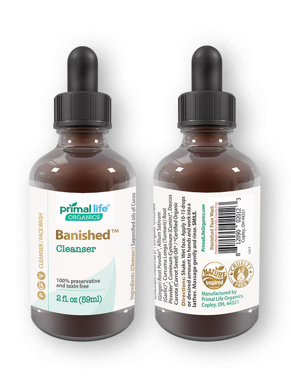 Acne banished cleanser 2 oz front and back
