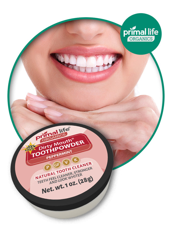 Dirty Mouth Primal Life Organics Toothpowder Smile with teeth