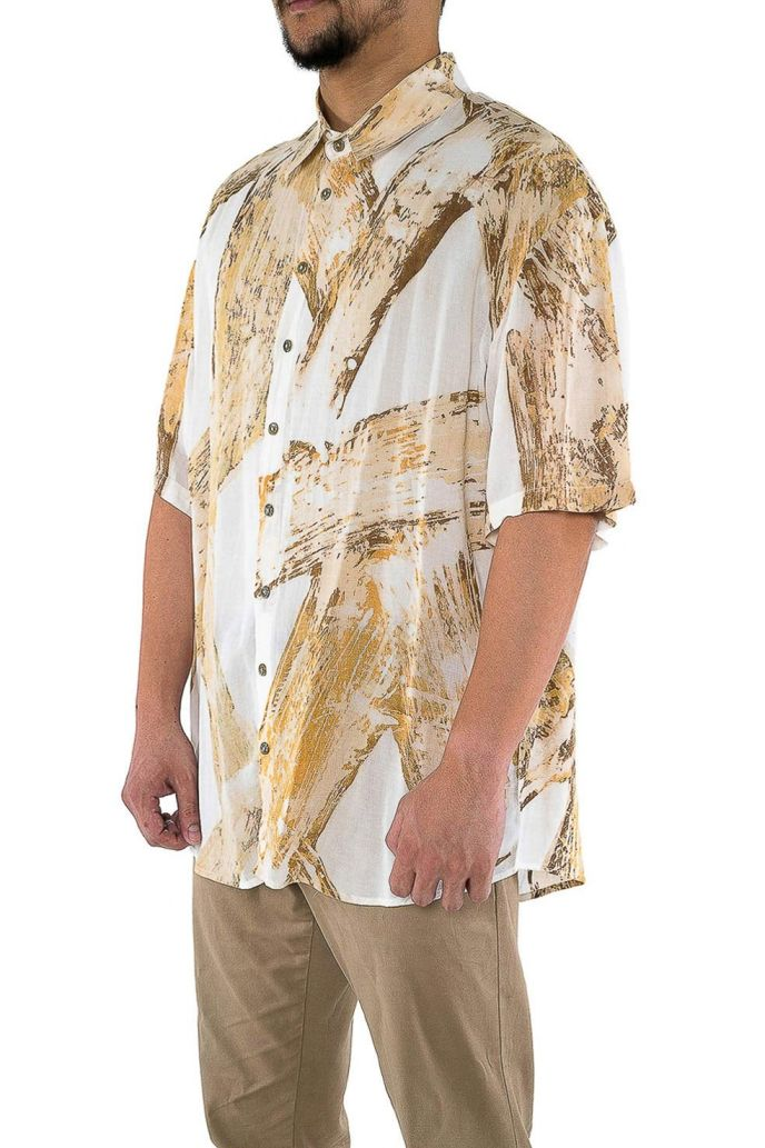 Men's handpainted short sleeved batik shirt, ethically handwoven and naturally handdyed, RUPAHAUS