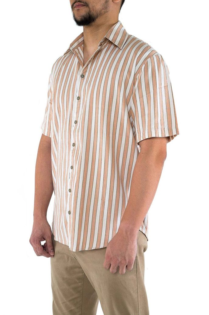 Men's short sleeved cotton shirt, ethically handwoven and naturally handdyed, RUPAHAUS