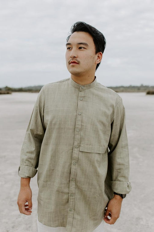 Men's casual cotton shirt, ethically handwoven and naturally handdyed, RUPAHAUS