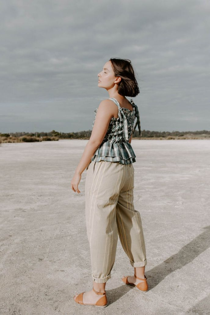 Womenswear bottoms pants, ethically handwoven and naturally handdyed, RUPAHAUS