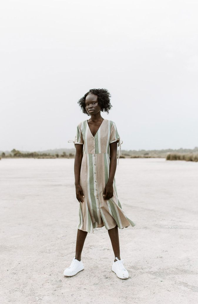 Handwoven women midi dress, ethically handmade and naturally handdyed, RUPAHAUS